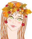 Autumn fine girl. With autumn leaves of a maple and an oak Royalty Free Stock Photos