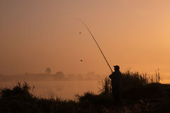Autumn fishing. Hobby fishing in autumn morning Royalty Free Stock Photo