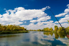 Autumn fishing Stock Images