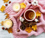 Autumn flat lay with cup of tea and leaves stock images