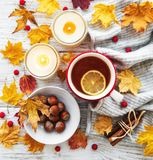 Autumn flat lay with cup of tea and leaves royalty free stock images