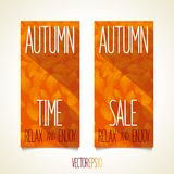 Autumn flat style flyers Stock Photography