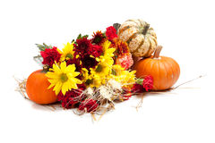 Autumn floral arrangement on white Royalty Free Stock Photography
