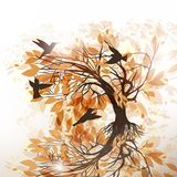 Autumn floral background with tree and birds Stock Photo