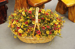 Autumn Floral Basket Stock Photos
