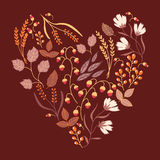 Autumn floral card. Fall autumn leaves in the. Shape of heart. Nature symbol vector collection Royalty Free Stock Image