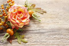 Autumn floral decorations on wooden background Royalty Free Stock Photo