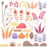 Autumn Floral Elements Set plat Illustration de Vecteur
