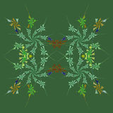 Autumn floral fractal background. In shades of green Stock Photo