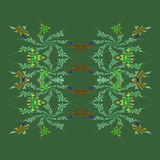Autumn floral fractal background. In shades of green Royalty Free Stock Photo