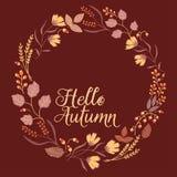 Autumn Floral Frame Collection Insieme sveglio con illustrazione vettoriale