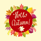 Autumn floral frame with leaves and text hello autumn. Royalty Free Stock Images