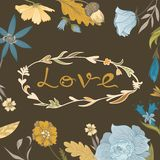 Autumn Floral Frame with Love Lettering Royalty Free Stock Photos