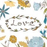 Autumn Floral Frame met Liefde het Van letters voorzien Stock Afbeelding
