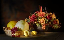 Autumn Floral And Fruit Arrangement  Royalty Free Stock Photos