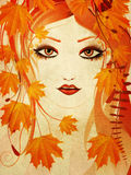 Autumn floral girl. Grunge portrait of an abstract floral girl with autumn maple leaves vector illustration