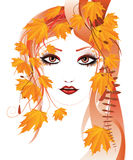Autumn floral girl. Portrait of an abstract floral girl with autumn maple leaves stock illustration