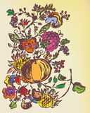 Autumn floral graphic background Stock Photos