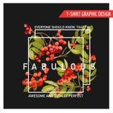 Autumn Floral Graphic Design - für T-Shirt, druckt Mode, lizenzfreie abbildung