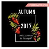 Autumn Floral Graphic met Lijsterbes, Takken en Bladeren De Aardachtergrond van de t-shirtdaling Royalty-vrije Stock Foto