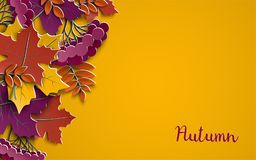 Autumn floral paper background with colorful tree leaves on yellow background, design elements for the fall season banner, poster Stock Photo
