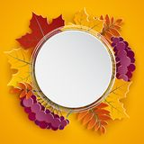 Autumn floral paper round frame and colorful tree leaves on yellow background. Autumnal design for fall season greeting card, sale. Banner, poster, flyer, web Royalty Free Stock Photography