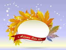 Autumn floral paper round frame and colorful tree leaves on swee. Autumn sale poster with fall leaves on wooden backgrounds. Vector illustration for website and royalty free stock photography