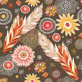 Autumn floral patterns stock illustration