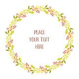 Autumn floral round frame with hand painted leaves stock illustration