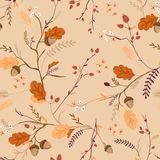 Autumn Floral Seamless Pattern with Acorns, Leaves and Flowers. Fall Vintage Nature Background for Textile, Wallpaper vector illustration