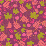 Autumn floral seamless pattern. Bright leaf-fall background. Colorful vector illustration Stock Image