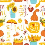 Autumn floral seamless pattern in doodle style vector illustration