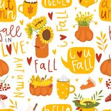 Autumn floral seamless pattern in doodle style stock illustration