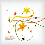 Autumn floral wave on white background Stock Photo