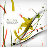 Autumn floral wave on white background. Minimalistic design. Nature background, environmental swirl template concept vector illustration