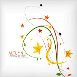 Autumn floral wave on white background. Minimalistic design. Nature background, environmental swirl template concept royalty free illustration