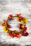 Autumn floral wreath on rustic wooden background Stock Image