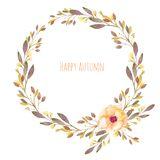 Autumn floral wreath with watercolor flower and fall branches stock illustration