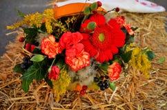 Autumn Flower garnering i pumpa Arkivfoto
