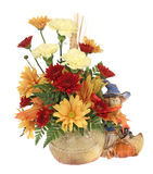 Autumn Flowers. Autumn flower bouquet and figurine isolated on white Royalty Free Stock Images