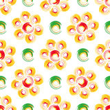 Autumn flowers. Abstract geometric seamless pattern. With colored circles Stock Photo