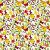 Autumn flowers, butterflies. Ditsy repeating floral pattern. Watercolor Stock Photography