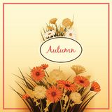 Autumn flowers, Fall, leaves, banner, greeting card, autumn colors, template, vector, illustration, isolated. Autumn flowers, Fall, leaves, banner greeting card royalty free illustration