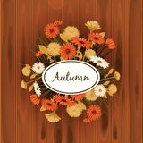Autumn flowers, Fall, leaves, banner, greeting card, autumn colors, wooden backgfound, template, vector, illustration. Autumn flowers, Fall, leaves, banner stock illustration