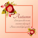Autumn flowers frame for invitation card. Stock Images