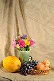 The autumn flowers and fruit Stock Photo