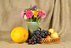The autumn flowers and fruit Royalty Free Stock Photos