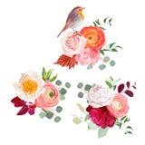 Autumn flowers mix and cute robin bird vector design bouquets Stock Photos