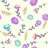Autumn flowers. Vector floral seamless pattern. Hand drawn illustration with asters and herbs Stock Photos