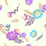 Autumn flowers. Vector floral seamless pattern. Hand drawn illustration with asters and herbs Stock Images